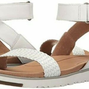 UGG Laddie Ankle Strap Sandal White NEW IN BOX